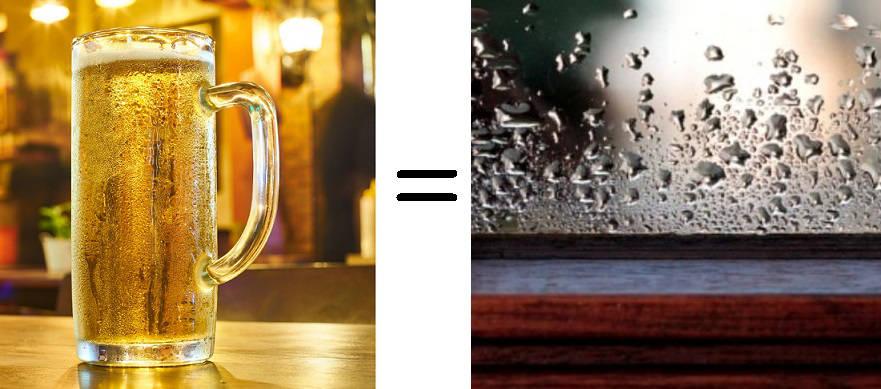 dlaczego na szybie skrapla się woda, wilgoć, porównanie
