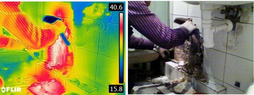 badanie termowizyjne latem - lokalizacja wycieku cieplej wody
