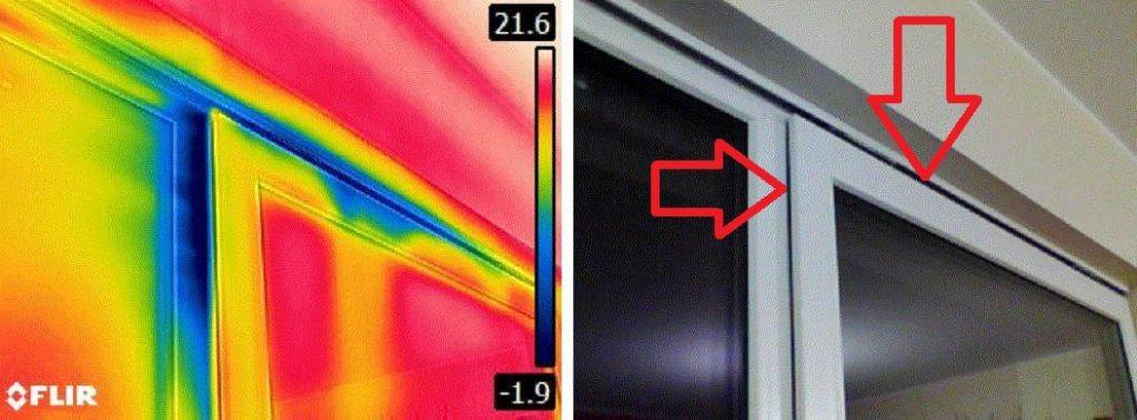 skad wieje od okna - przedmuch przy oknach termowizja