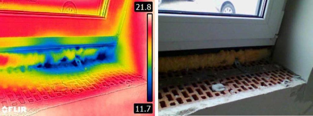 skad wieje od okien przedmuch na osadzeniu okna badanie termowizyjne
